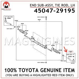 45047-29195 TOYOTA GENUINE END SUB-ASSY, TIE ROD, LH 4504729195