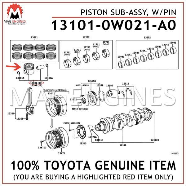 13101-0W021-A0 TOYOTA GENUINE PISTON SUB-ASSY, WPIN 131010W021A0