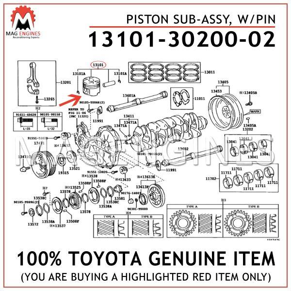 13101-30200-02 TOYOTA GENUINE PISTON SUB-ASSY, WPIN 131013020002
