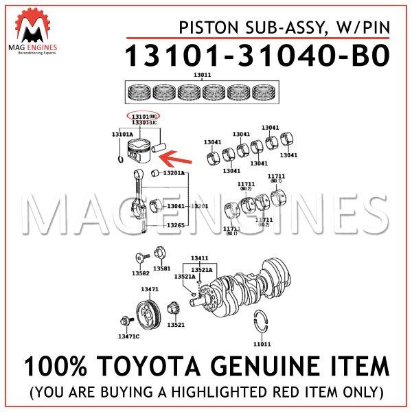 13101-31040-B0 TOYOTA GENUINE PISTON SUB-ASSY, WPIN 1310131040B0