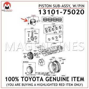 13101-75020 TOYOTA GENUINE PISTON SUB-ASSY, WPIN 1310175020