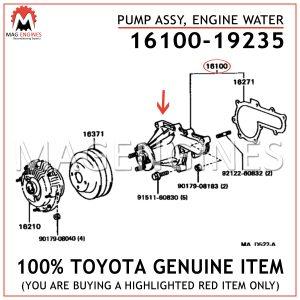 16100-19235 TOYOTA GENUINE PUMP ASSY, ENGINE WATER 1610019235