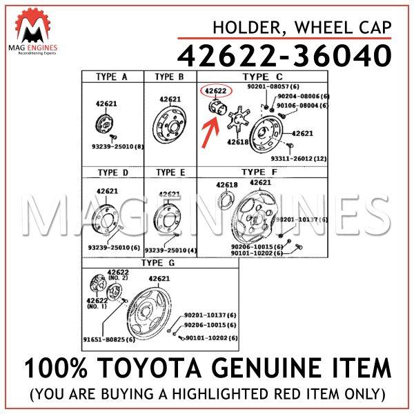 42622-36040 TOYOTA GENUINE HOLDER, WHEEL CAP 4262236040