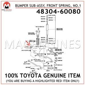 48304-60080 TOYOTA GENUINE BUMPER SUB-ASSY, FRONT SPRING, NO.1 4830460080