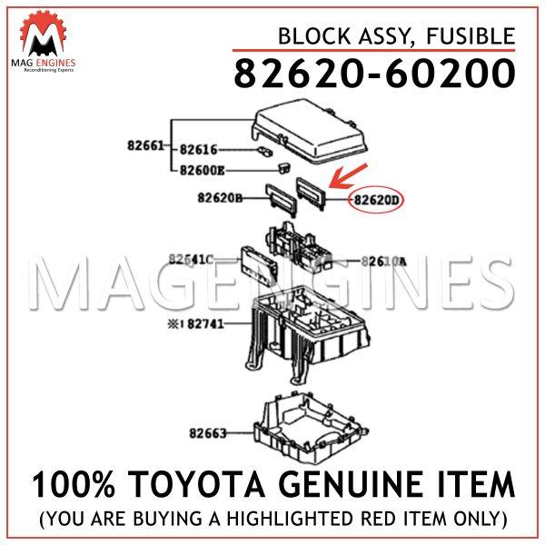 82620-60200 TOYOTA GENUINE BLOCK ASSY, FUSIBLE 8262060200
