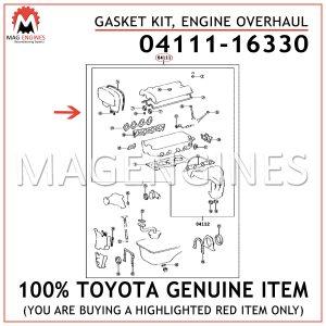 04111-16330 TOYOTA GENUINE GASKET KIT, ENGINE OVERHAUL 0411116330