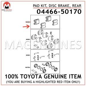 04466-50170 TOYOTA GENUINE PAD KIT, DISC BRAKE, REAR 0446650170