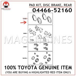 04466-52160 TOYOTA GENUINE PAD KIT, DISC BRAKE, REAR 0446652160