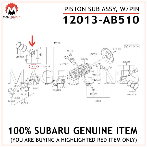 12013-AB510 SUBARU GENUINE PISTON SUB ASSY, WPIN 12013AB510