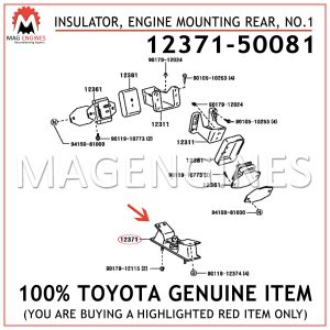 12371-50081 TOYOTA GENUINE INSULATOR, ENGINE MOUNTING REAR, NO.1 1237150081