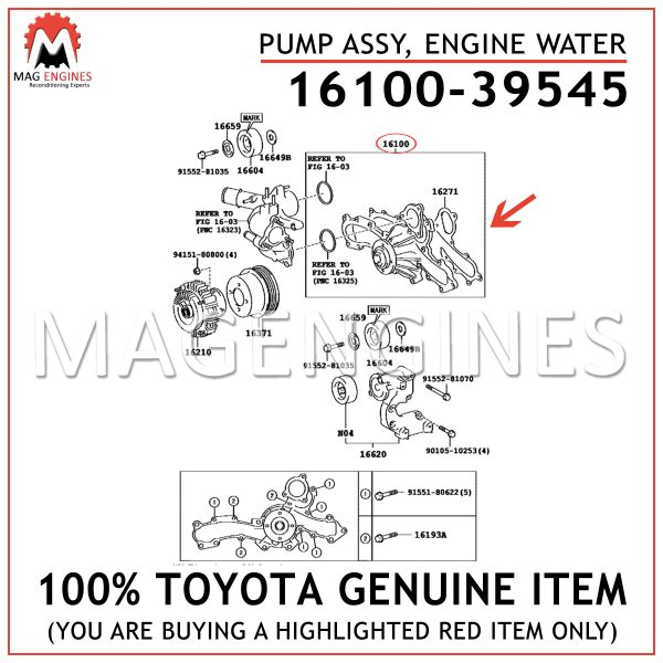 16100-39545 TOYOTA GENUINE PUMP ASSY, ENGINE WATER 1610039545
