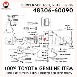 48306-60090 TOYOTA GENUINE BUMPER SUB-ASSY, REAR SPRING 4830660090