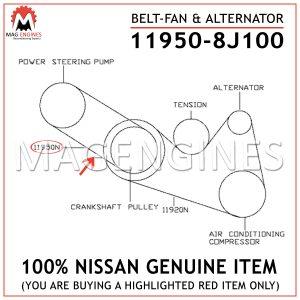 11950-8J100 NISSAN GENUINE BELT-FAN & ALTERNATOR 119508J100