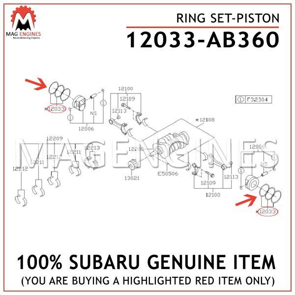 12033-AB360 SUBARU GENUINE RING SET-PISTON 12033AB360