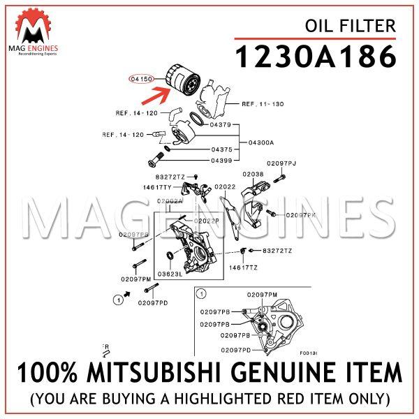 1230A186 MITSUBISHI GENUINE OIL FILTER