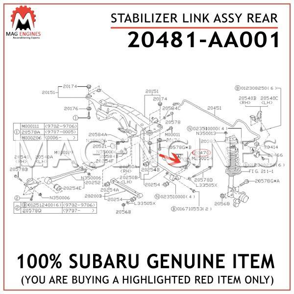 20481-AA001 SUBARU GENUINE STABILIZER LINK ASSY REAR 20481AA001