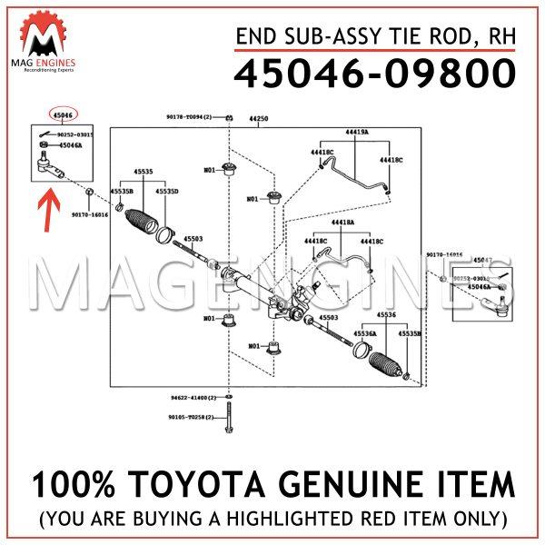 45046-09800 TOYOTA GENUINE END SUB-ASSY TIE ROD, RH 4504609800