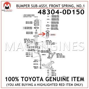 48304-0D150 TOYOTA GENUINE BUMPER SUB-ASSY, FRONT SPRING, NO.1 483040D150