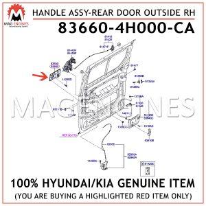 83660-4H000-CA HYUNDAIKIA GENUINE HANDLE ASSY-REAR DOOR OUTSIDE RH 836604H000CA