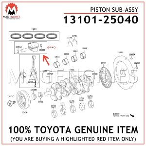 13101-25040 TOYOTA GENUINE PISTON SUB-ASSY 1310125040