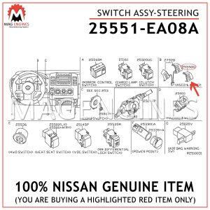 25551-EA08A NISSAN GENUINE SWITCH ASSY-STEERING 25551EA08A