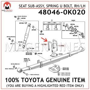 48046-0K020 TOYOTA GENUINE SEAT SUB-ASSY, SPRING U BOLT, RHLH 480460K020