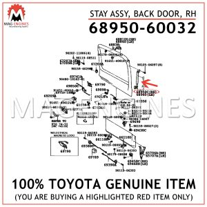 68950-60032 TOYOTA GENUINE STAY ASSY, BACK DOOR, RH 6895060032