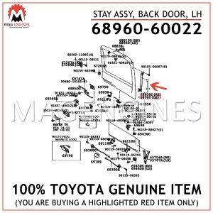 68960-60022 TOYOTA GENUINE STAY ASSY, BACK DOOR, LH 6896060022