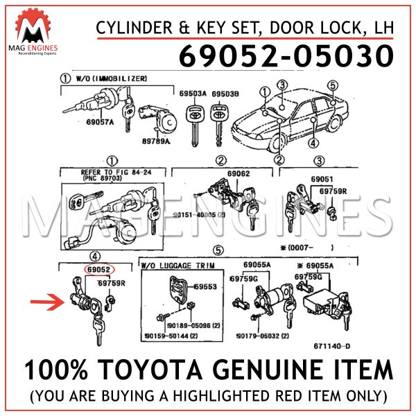 69052-05030 TOYOTA GENUINE CYLINDER & KEY SET, DOOR LOCK, LH 6905205030