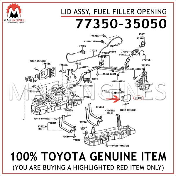 77350-35050 TOYOTA GENUINE LID ASSY, FUEL FILLER OPENING 7735035050