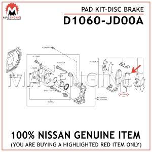 D1060-JD00A NISSAN GENUINE PAD KIT-DISC BRAKE D1060JD00A