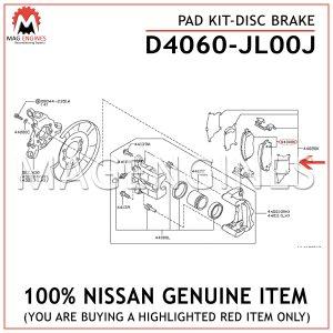 D4060-JL00J NISSAN GENUINE PAD KIT-DISC BRAKE D4060JL00J